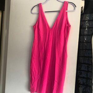 Pink formal dress with low v back